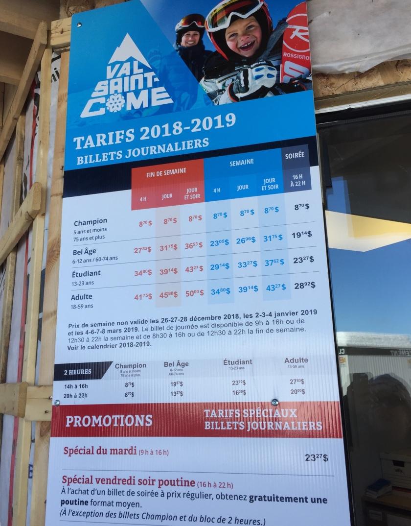 Ski Val Saint Come tarifs 2018-2019