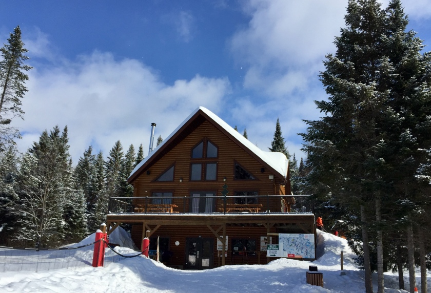 Parc regional de Val David family winter hike main entrance