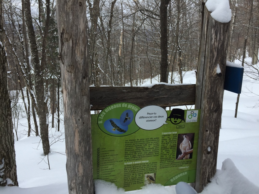 Parc regional de Val David family winter hike and snowshoeing, informational signs along the trail