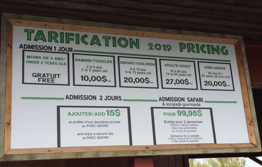 Parc Safari entry fees